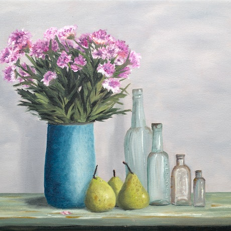 (CreativeWork) Daisies in the Summertime by Johanna Larkin. Oil Paint. Shop online at Bluethumb.