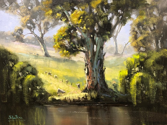 (CreativeWork) Grazing Along The River by John Rice. Oil Paint. Shop online at Bluethumb.