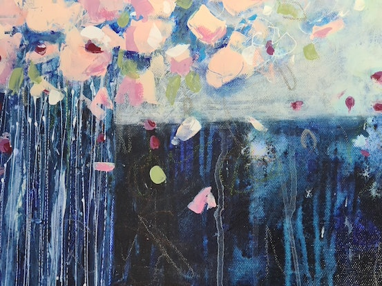(CreativeWork) Midnight florals by karen lavender. Acrylic Paint. Shop online at Bluethumb.