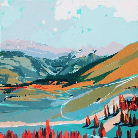 (CreativeWork) Hill Spotting by Tulika Das. Acrylic Paint. Shop online at Bluethumb.