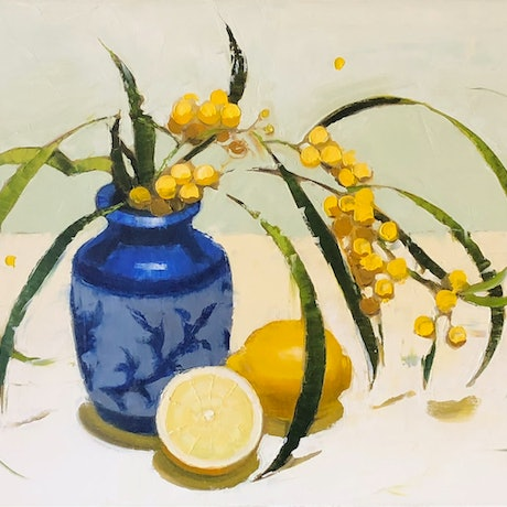 (CreativeWork) Wattle, lemons and blue and white vase by kirsty mcintyre. Oil Paint. Shop online at Bluethumb.