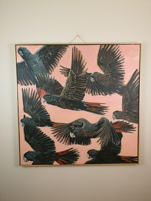 (CreativeWork) Wings up. Framed by Cristian Frost. Acrylic Paint. Shop online at Bluethumb.