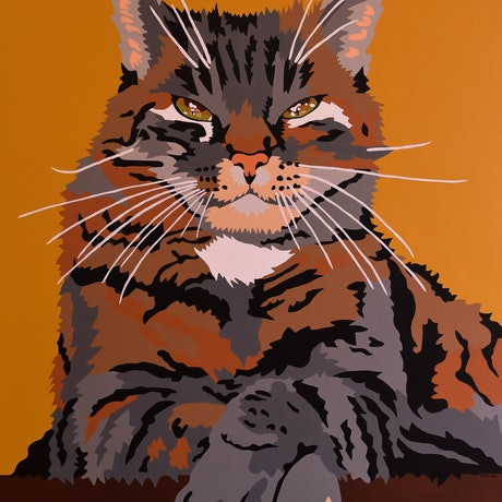 (CreativeWork) Henry's Cat by Emily Provan. Acrylic. Shop online at Bluethumb.