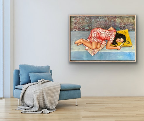 (CreativeWork) Snow White by Leah Mariani. Oil Paint. Shop online at Bluethumb.