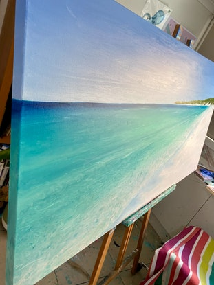 (CreativeWork) Glass - Original - Real Beaches Series by Pip Phelps. Oil Paint. Shop online at Bluethumb.