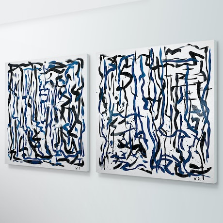 (CreativeWork) Labyrinth Duo - 92 x 92cm each - acrylic on canvas  by George Hall. Acrylic Paint. Shop online at Bluethumb.