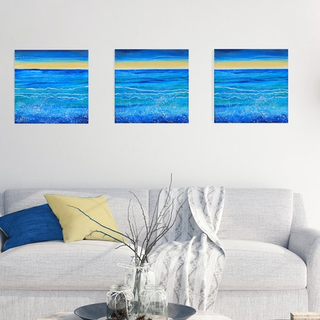 (CreativeWork) On the Coast Triptych by Kathie Nichols. Acrylic. Shop online at Bluethumb.