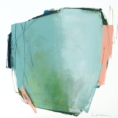 (CreativeWork) Yin - blue grey green abstract by Stephanie Laine. Acrylic Paint. Shop online at Bluethumb.