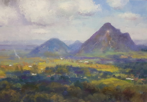(CreativeWork) Cloud Shadows over the Glasshouse Mtns. Maleny .Qld by Barry Back. Oil Paint. Shop online at Bluethumb.
