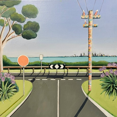 (CreativeWork) Galah Crossing II by Billy Nye. Acrylic Paint. Shop online at Bluethumb.