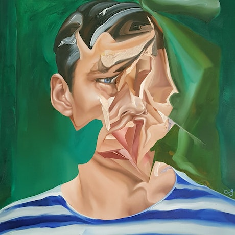 (CreativeWork) Bust of Man in Striped Shirt by Jonny Southgate. Oil Paint. Shop online at Bluethumb.