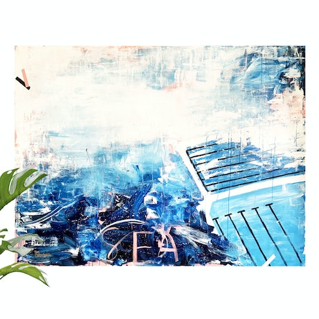(CreativeWork) Icebergs and the Sea by Tim Christinat. Acrylic Paint. Shop online at Bluethumb.