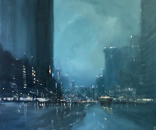 (CreativeWork) Harbour Mystery - rainy cityscape by Mike Barr. Acrylic Paint. Shop online at Bluethumb.