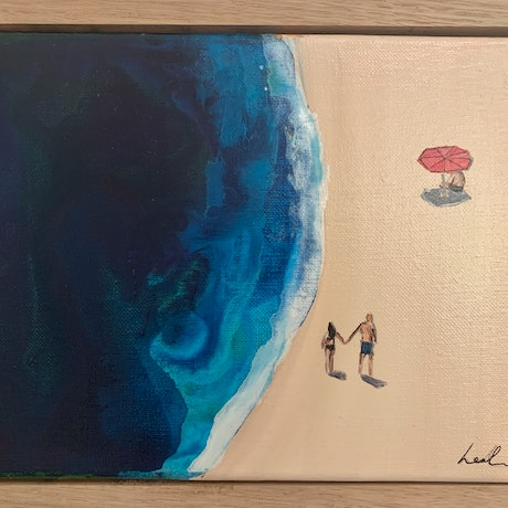 (CreativeWork) Beach day 1 by Leah Dodd. Mixed Media. Shop online at Bluethumb.