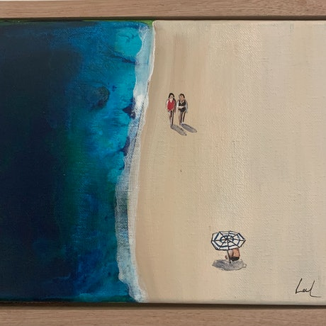 (CreativeWork) Beach day 4 by Leah Dodd. Mixed Media. Shop online at Bluethumb.