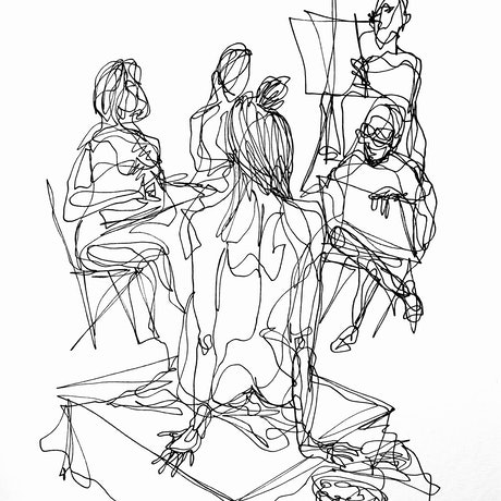 (CreativeWork) Don't Let Go - Life drawing session in progress by Irma Calabrese. Drawings. Shop online at Bluethumb.