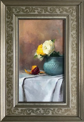 (CreativeWork) Yellow & White Roses by Colleen Stapleton. Oil Paint. Shop online at Bluethumb.