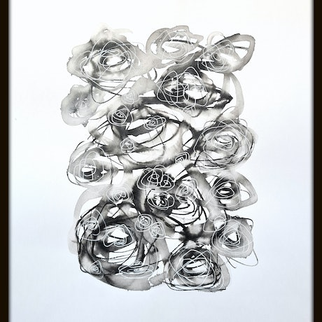 (CreativeWork) About Love - Roses Only #4 - Framed 43x53x3.5 cm by Olga Kolesnik. Drawings. Shop online at Bluethumb.