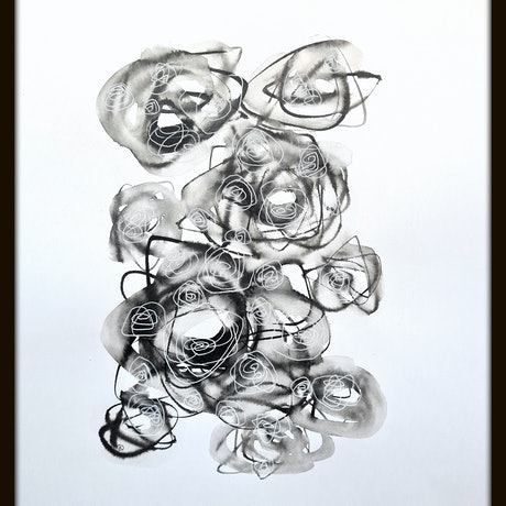 (CreativeWork) About Love - Roses Only #5 - Framed 43x53x3.5 cm  by Olga Kolesnik. Drawings. Shop online at Bluethumb.
