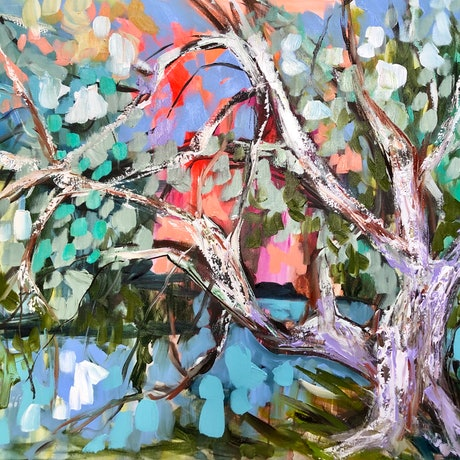 (CreativeWork) Shaded river gum at dusk  by Amanda Brooks. Acrylic Paint. Shop online at Bluethumb.