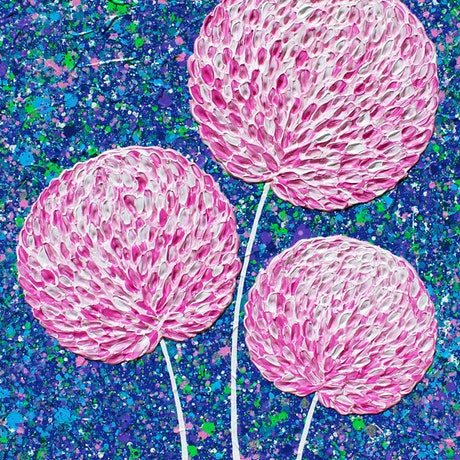 (CreativeWork) Flowers - Pink Flowers by Night textured abstract by Miranda Lloyd. Mixed Media. Shop online at Bluethumb.