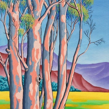 "(CreativeWork) ""Gums with Red and Purple Hills"" by Saadah Kent. Acrylic Paint. Shop online at Bluethumb."