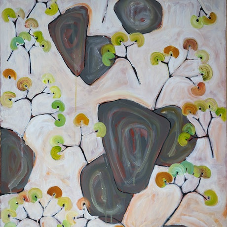 (CreativeWork) Hanging Rock / Ngannelong IV by Michael Wolfe. Acrylic Paint. Shop online at Bluethumb.