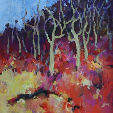 (CreativeWork) Bushland conversation by Susan Lhamo. Acrylic Paint. Shop online at Bluethumb.