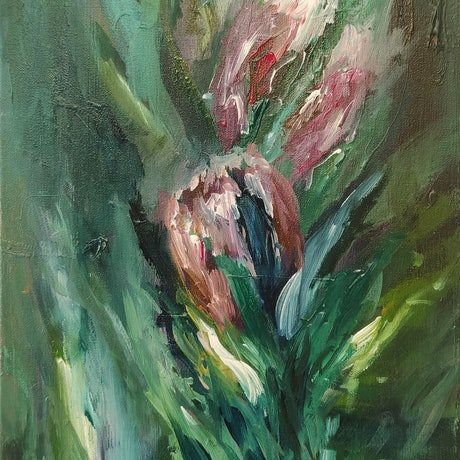 (CreativeWork) Protea Parade  by Lucile Hibbsio. Oil Paint. Shop online at Bluethumb.