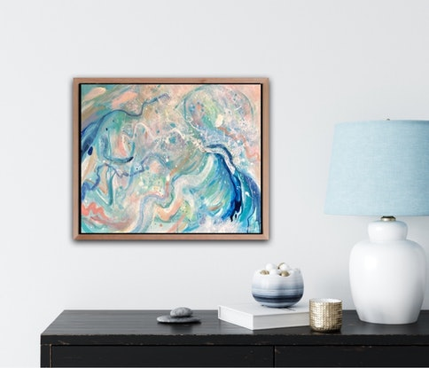 (CreativeWork) Sunset Swirl by Sandra Vincent. Acrylic Paint. Shop online at Bluethumb.