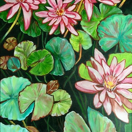 (CreativeWork) Water Lilies in the Botanic Garden by Natasha Ruffio. Acrylic Paint. Shop online at Bluethumb.