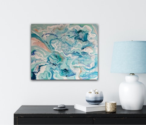 (CreativeWork) Ocean Swirl by Sandra Vincent. Acrylic Paint. Shop online at Bluethumb.