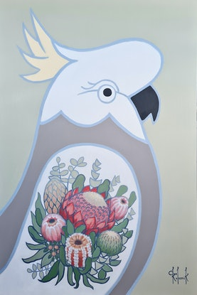 (CreativeWork)  White Cockatoo With Waratah Tattoo - AUSTRALIANA - Animals by Olga Kolesnik. Acrylic Paint. Shop online at Bluethumb.