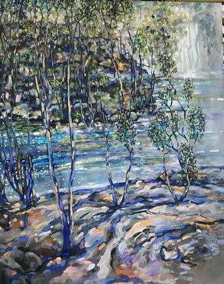(CreativeWork) A view to the Hawkesbury  by sue bannister. Oil Paint. Shop online at Bluethumb.