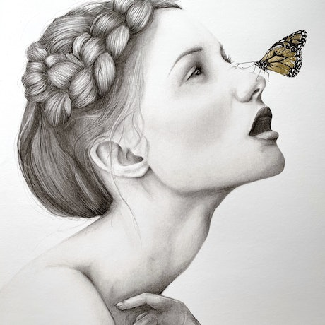 (CreativeWork) Hope  - Ed. 2 of 50,  limited edition print detailed with gold leaf   Ed. 2 of 50 by Charlotte Beddoes. Reproduction Print. Shop online at Bluethumb.