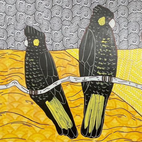(CreativeWork) Majestic yellow tail black cockatoo's by Sally Dunbar. Mixed Media. Shop online at Bluethumb.
