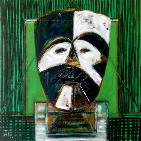 (CreativeWork) Masque II (African) by Eva Horvath. Oil Paint. Shop online at Bluethumb.