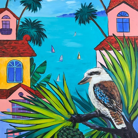 (CreativeWork) Kookaburra, abstract Australian landscape by Irina Redine. Acrylic Paint. Shop online at Bluethumb.