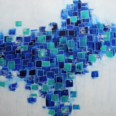 (CreativeWork) Blue Bubbles by Bec Bartell. Acrylic Paint. Shop online at Bluethumb.