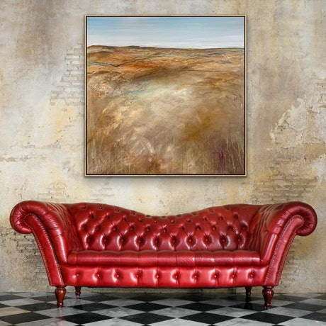 (CreativeWork) Winding Back FRAMED 75X75CM  Large Textured Abstract Landscape by Tania Chanter. Acrylic Paint. Shop online at Bluethumb.