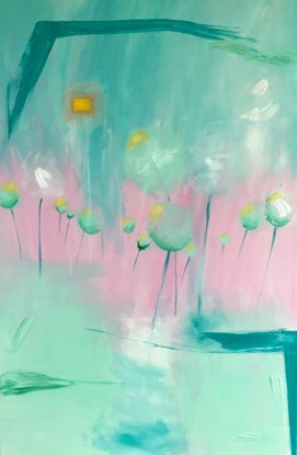 (CreativeWork) Fairy floss by Tania Weekes. Acrylic Paint. Shop online at Bluethumb.