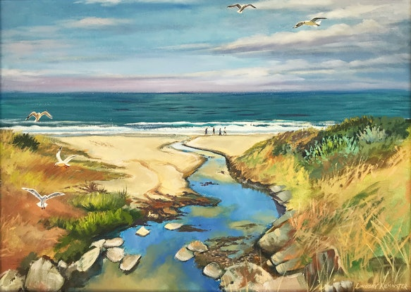 (CreativeWork) Low tide, Brighton Beach, Adelaide by Lindsay Kilminster. Oil Paint. Shop online at Bluethumb.