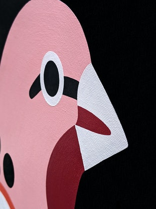 (CreativeWork) Bird Portrait No 19 - RETROPHILIA Collection by Andria Beighton. Acrylic Paint. Shop online at Bluethumb.
