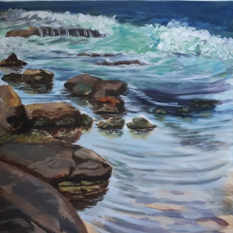 (CreativeWork) Plein Air , Morning Clear Water  by Hide Kobayashi. Acrylic Paint. Shop online at Bluethumb.