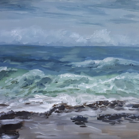(CreativeWork) Plein Air , Stormy day at Merewether, NSW  by Hide Kobayashi. Acrylic Paint. Shop online at Bluethumb.