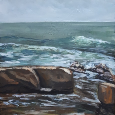 (CreativeWork) Plein Air , Quiet morning at Merewether, NSW  by Hide Kobayashi. Acrylic Paint. Shop online at Bluethumb.