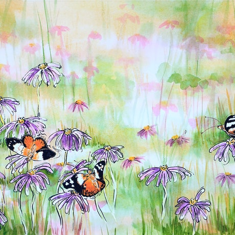 (CreativeWork) Summer Picnic in the Daisy Patch by Judi Parkinson. Mixed Media. Shop online at Bluethumb.