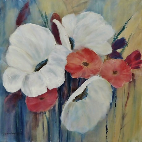 (CreativeWork) Garden Delights by Clare Riddington Jones. Acrylic Paint. Shop online at Bluethumb.