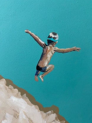 (CreativeWork) Just Jump VII by Pip Phelps. Acrylic Paint. Shop online at Bluethumb.