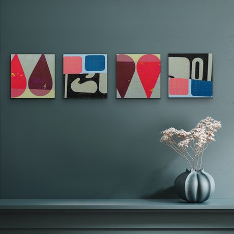 (CreativeWork) Parquet Drops - set of 4 by Letter allsorts. Acrylic Paint. Shop online at Bluethumb.